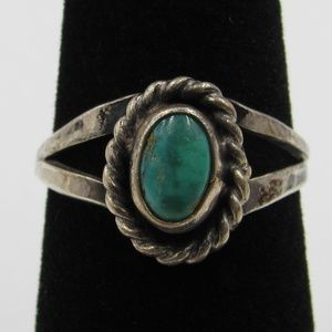 Vintage Size 6.5 Sterling Rustic Green Stone Ring